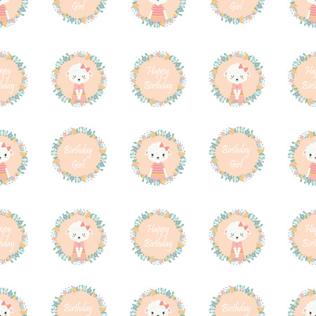 Seamless pattern with cute sheep on flowers wreath vector cartoon suitable for birthday wallpaper design, scrap paper and kid fabric clothes