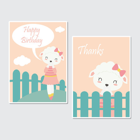 Vector cartoon illustration with cute sheep on the farm suitable for birthday card design, Invitation card, and greeting card