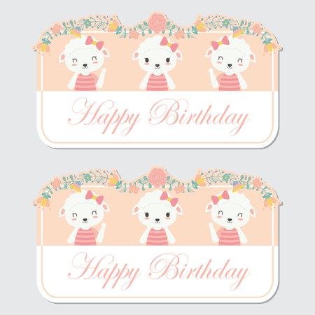 Vector cartoon illustration with cute three sheep and flower border suitable for birthday label design, banner set and invitation card