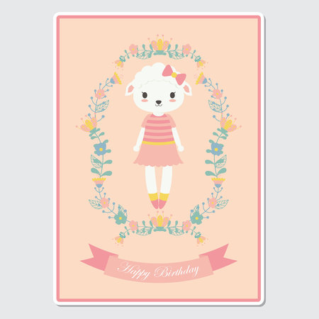 Vector cartoon illustration with cute sheep girl on flowers wreath suitable for birthday card design, Invitation card, and greeting card