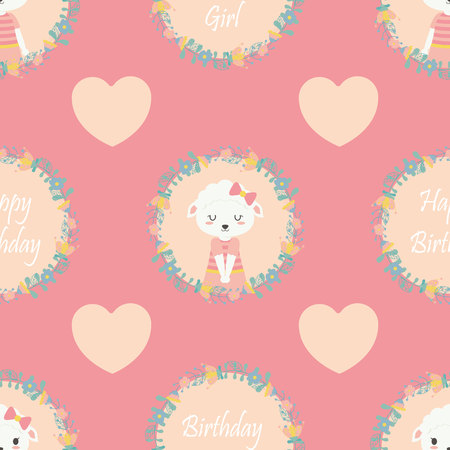 Seamless pattern with cute sheep and heart shape on pink background vector cartoon suitable for birthday wallpaper design, scrap paper and kid fabric clothes