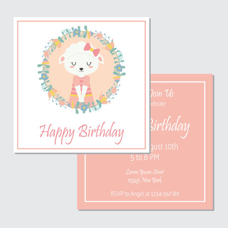 Vector cartoon illustration with cute sheep on flowers wreath suitable for birthday card design, Invitation card, and greeting card