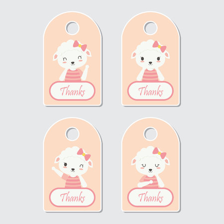 Vector cartoon illustration with cute sheep frames suitable for gift tag set design, thanks tag, and sticker set