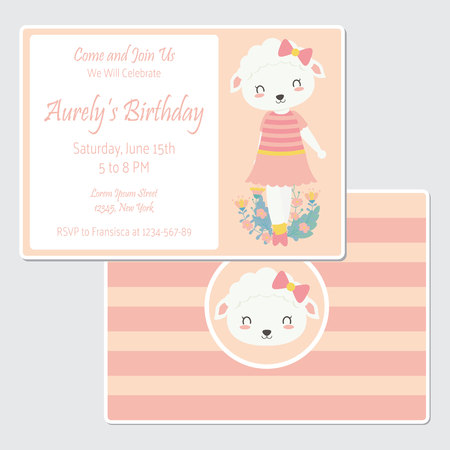 Vector cartoon illustration with cute sheep on flower garden suitable for birthday card design, Invitation card, and greeting card