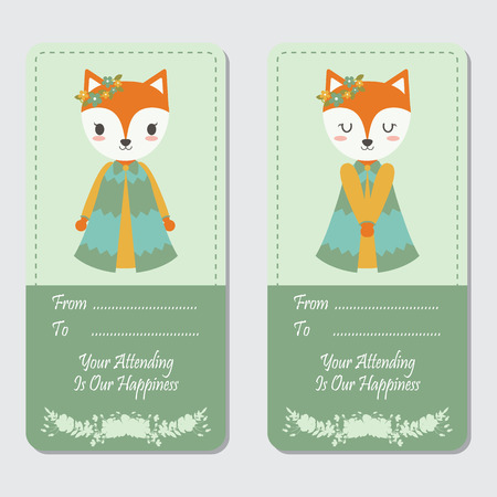 Vector cartoon illustration with two cute foxes suitable for birthday label design, banner set and invitation card Illustration