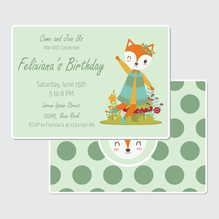 Vector cartoon illustration with cute fox girl sits on mushroom suitable for birthday card design, Invitation card, and greeting card