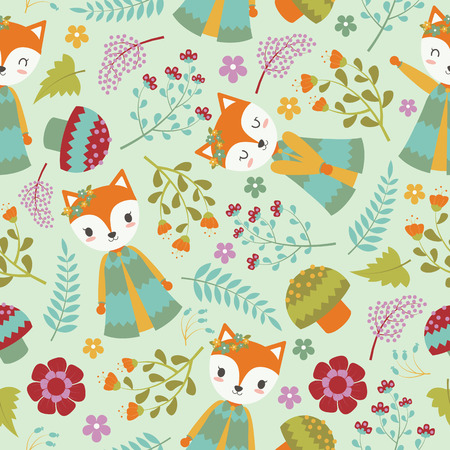 Seamless pattern with cute fox and flowers on bright background vector cartoon suitable for birthday wallpaper design, scrap paper and kid fabric clothes