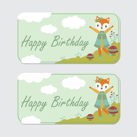 Vector cartoon illustration with cute fox is happy on the garden suitable for birthday label design, banner set and invitation card