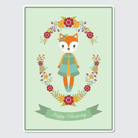 Vector cartoon illustration with cute fox girl on florals wreath suitable for birthday card design, Invitation card, and greeting card