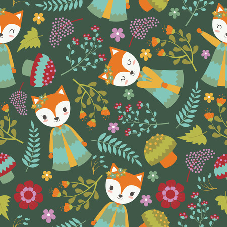 Seamless pattern with cute fox and flowers on dark background vector cartoon suitable for birthday wallpaper design, scrap paper and kid fabric clothes