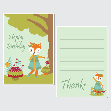 Vector cartoon illustration with cute fox girl plays under tree suitable for birthday card design, Invitation card, and greeting card