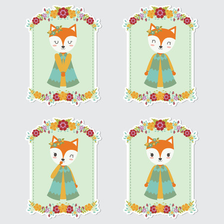 Vector cartoon illustration with cute foxes on flower frames suitable for gift tag set design, thanks tag, and sticker set