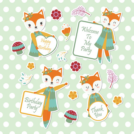 Vector cartoon illustration with cute fox and flowers suitable for kid sticker set design and gift tag Illustration