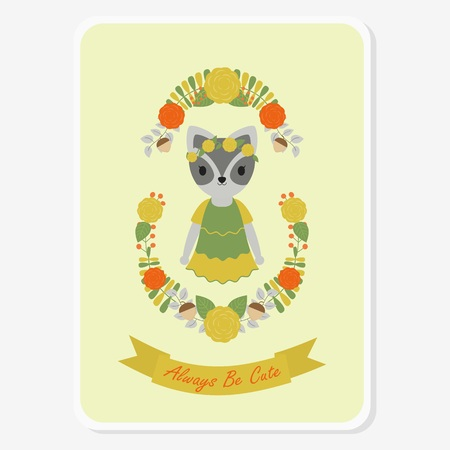Vector cartoon illustration with cute raccoon girl on flowers wreath suitable for greeting card design, and invitation card Illustration