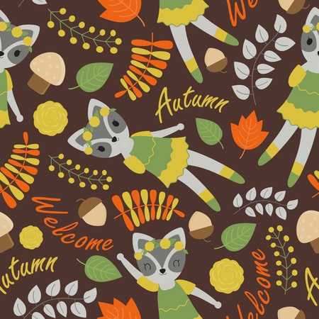 Seamless pattern with cute raccoon and flowers on brown background vector cartoon suitable for birthday wallpaper design, scrap paper and kid fabric clothes