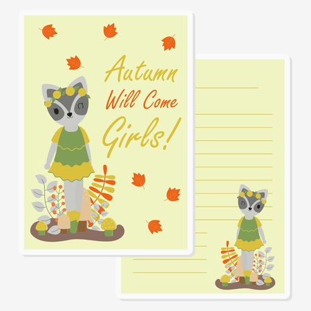 Vector cartoon illustration with cute raccoon girl under mapple leaves suitable for Autumn card design, Invitation card, and greeting card