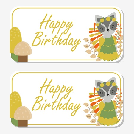 Vector cartoon illustration with cute raccoon smiles with musrooms and flowers suitable for birthday label design, banner set and invitation card Illustration