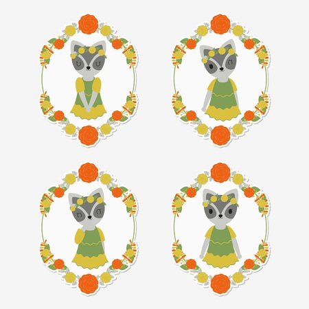 Vector cartoon illustration with cute raccoon on flower frames suitable for gift tag set design, thanks tag, and sticker set