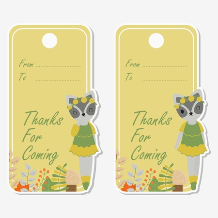 Vector cartoon illustration with cute raccoon is winking suitable for birthday label design, banner set and invitation card Illustration