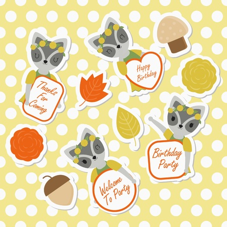 Vector cartoon illustration with cute raccoon and flowers suitable for kid sticker set design and gift tag