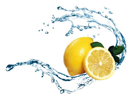 Lemon splashing on water