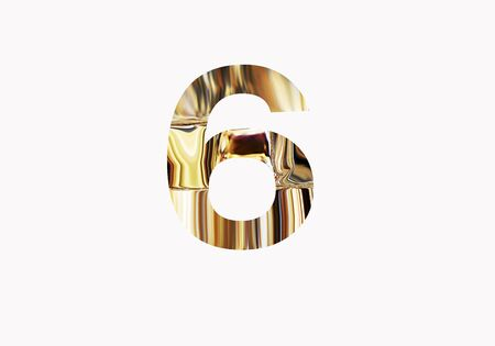 Golden number 6 Stock Photo