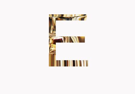 metalic design: Golden letter E Stock Photo