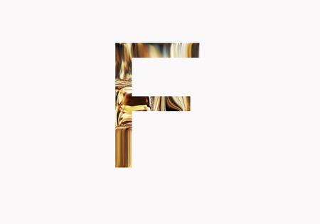 metalic design: Golden letter F Stock Photo