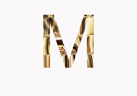 metalic: Golden letter M Stock Photo