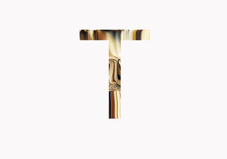 metalic design: Golden letter T Stock Photo