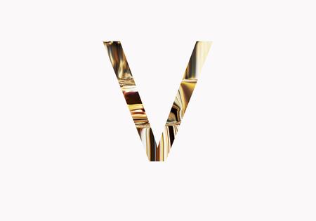 metalic design: Golden letter V Stock Photo