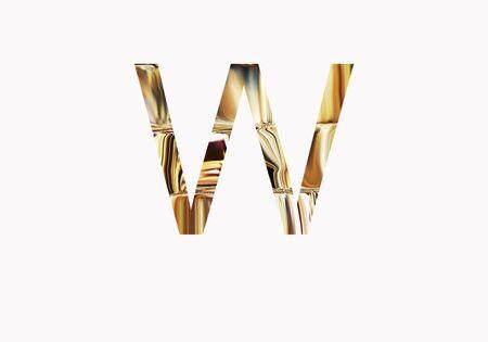 metalic design: Golden letter W