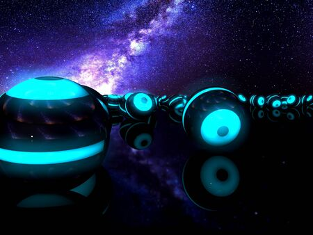 Magical neon spheres under the colorful galaxy