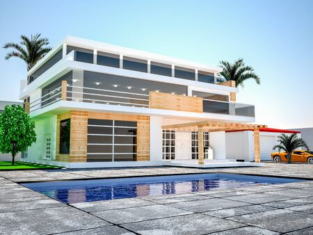 Modern luxurious villa with pool and garden .3d rendering