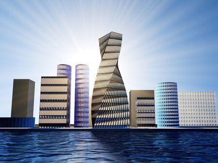 Smart city using futuristic connection technology.3d rendering Stock Photo