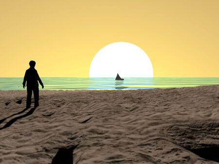 Man looking at the golden sun setting in the sea.3d rendering