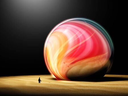 Deep imagination of man looking at a colorful big sphere Stock Photo