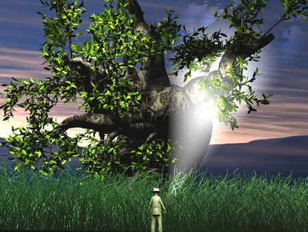 Explorer man into mysterious jungle