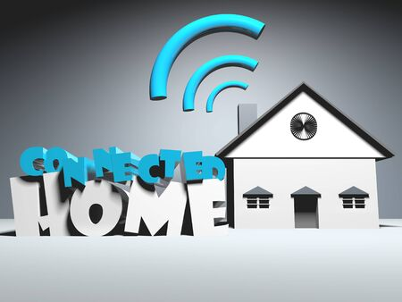 Smart home using wireless connection technology .3D rendering