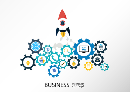 Business startup mechanism concept Abstract background with connected gears icons for strategy. Vector infographic illustration
