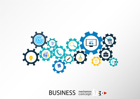 business gears: Business startup mechanism concept Abstract background with connected gears icons for strategy. Vector infographic illustration