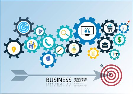 reputable: Business startup mechanism concept Abstract background with connected gears icons for strategy. Vector infographic illustration