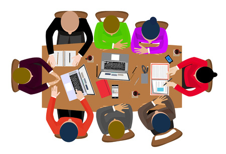 babysitting: Flat design style office workers business management meeting on the round table in top view vector illustration