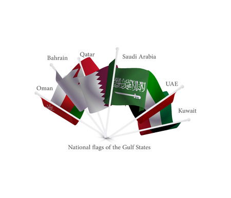 A picture showing the spirit of brotherhood between the GCC countries contains hands representing the national flags of the Gulf States, arabic scripts translation: qatar, bahrain, uae , ksa Illustration