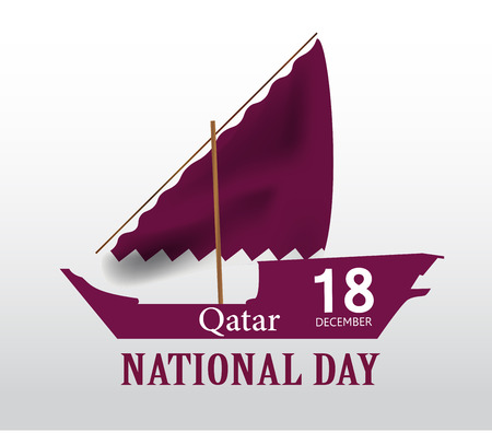 Background on the occasion Qatar national day celebration. Icon and flag, inscription in Arabic translation: Qatar National Day 18th December. vector illustration Illustration
