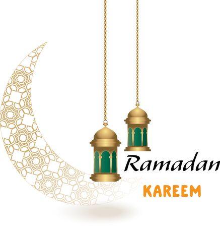 Ramadan background with a crescent decorated with Islamic decoration and lantern, arabic calligraphy translation: blessed ramadhan