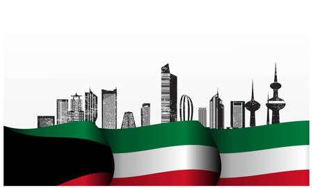 Vector illustration of Kuwait Happy National Day 25 Februay. arabic calligraphy translation: kuwait national day background.