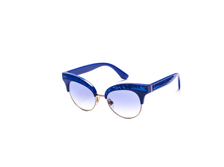 Sunglasses with blue glasses on an isolated white background