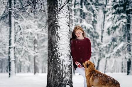 a beautiful girl in a Burgundy sweater and white pants stands leaning against a tree near the Red Dog amid the snowcovered forest