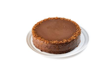 chocolate cake on an isolated white background 版權商用圖片